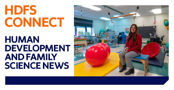 """Photo of Madalyn Tallo at her internship. Graphic reads, """"HDFS Connect: Human Development & Family Science News."""""""