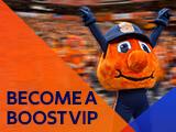 """Otto the Orange. Graphic Reads """"Become a Boost VIP."""""""