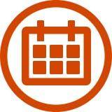 Orange calendar icon with orange circle around it