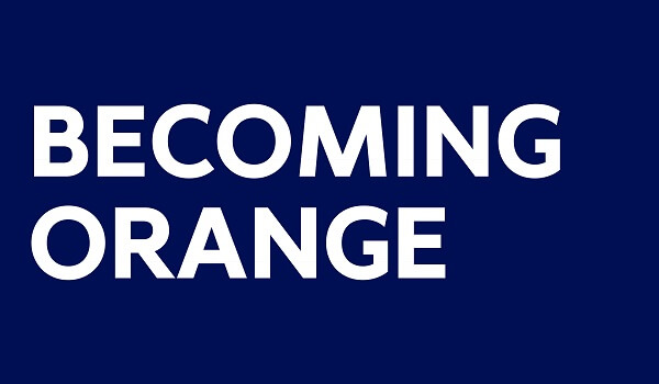 In text: Becoming Orange